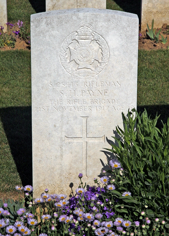 The gravestone of Sydney Henry Payne, Rocquigny-Equancourt Road British Cemetery Manancourt, France, courtesy of the War Graves Photographic Project http://twgpp.org/