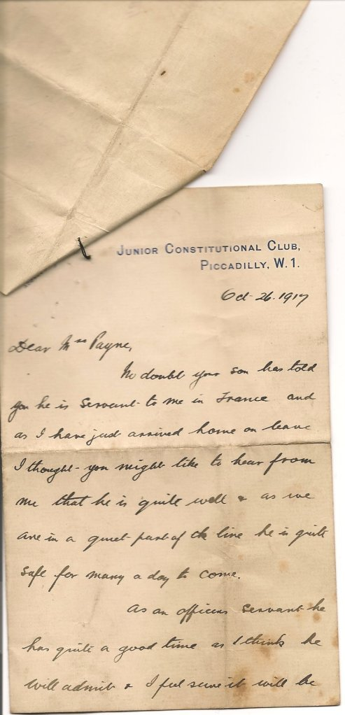 First page of letter written from Roy Edwards to Edith Hart, 1917