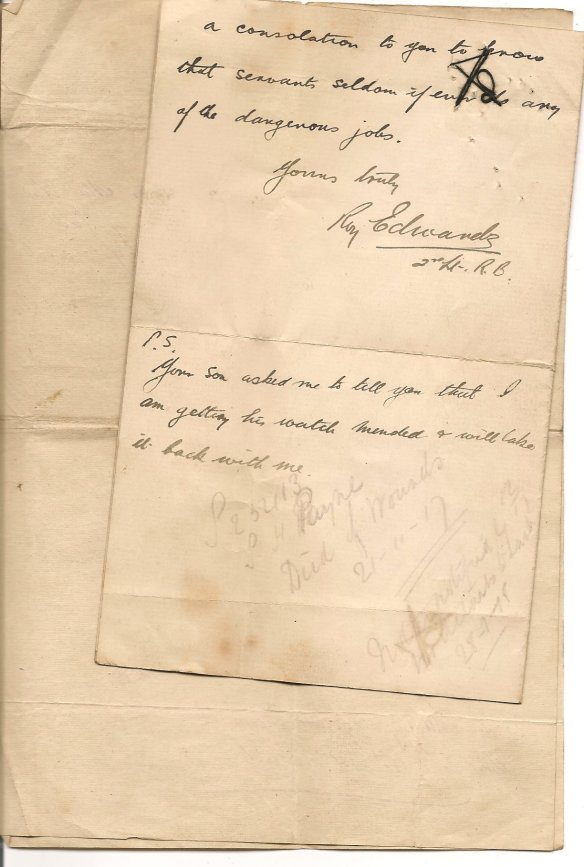 Second page of letter written by Roy Edwards to Edith Hart