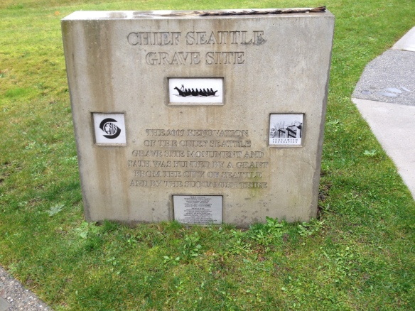 Marker by the entrance to the cemetery recognizing the 2009 renovation of Chief Seattle's gravesite.