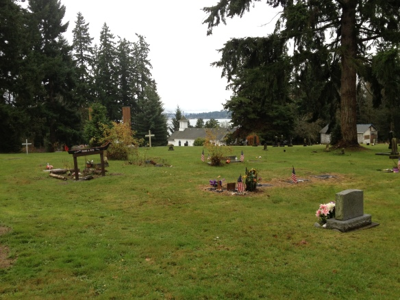 View of Suquamish Cemetery overlooking Puget Sound