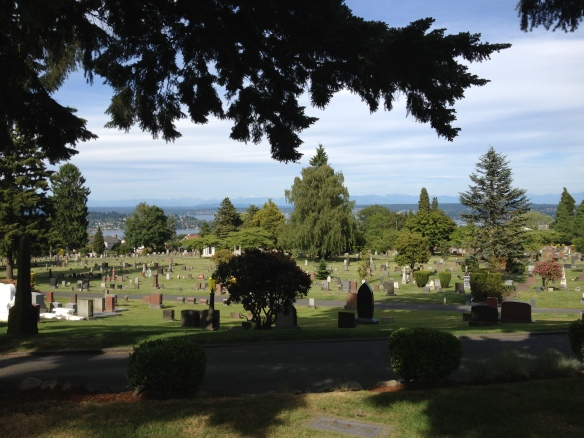 View of Lake Washington and Cascade Mountains from Lake View Cemetery