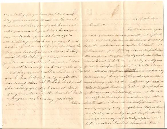 1860 Letter from Ellen J. Bonney to her brother Otis L. Bonney