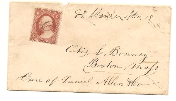 Front of envelope addressed to Otis L. Bonney