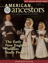 Cover of American Ancestors, Volume 14, Number 2, Spring 2013