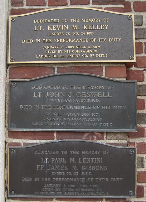 Memorials at the Engine 37 Firehouse at 560 Huntington Ave., including a Lentini-Gibbons plaque. Courtesy of the Boston Fire Historical Society. http://www.bostonfirehistory.org/activefirehouseengine37.html
