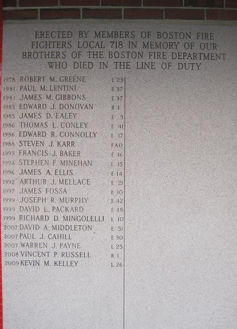 Right Tablet at the Florian Hall Firefighters Memorial, including James M. Gibbons. Courtesy of the Boston Fire Historical Society. http://www.bostonfirehistory.org/firefightermemorials.html