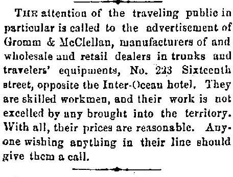 1873-12-06 Gromm McClellan Ad
